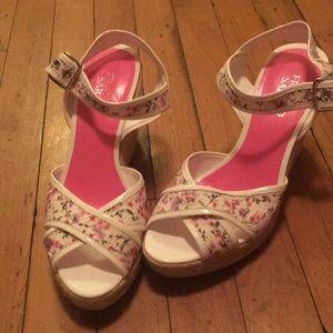 Wedge summer floral sandals